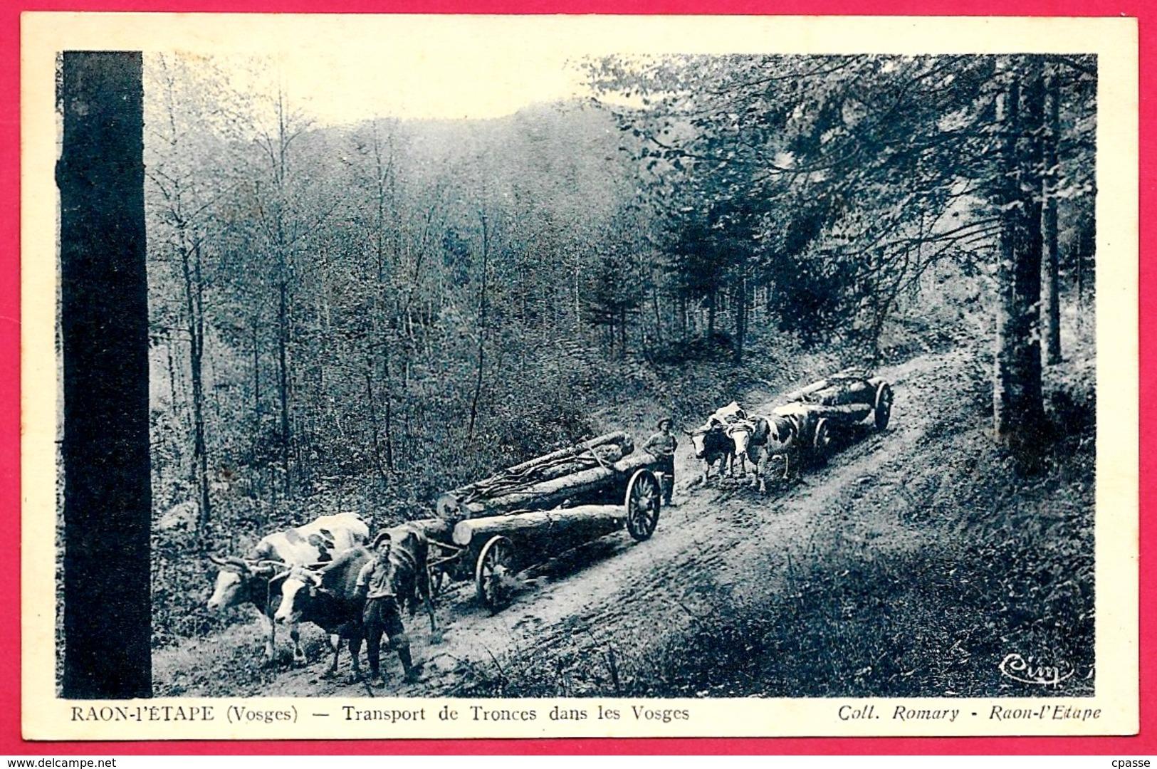 CPA 88 RAON L' ETAPE Dans Les Vosges - Transport De Tronces (Troncs) ** Attelage Boeufs Métier La Forêt Bois - Raon L'Etape