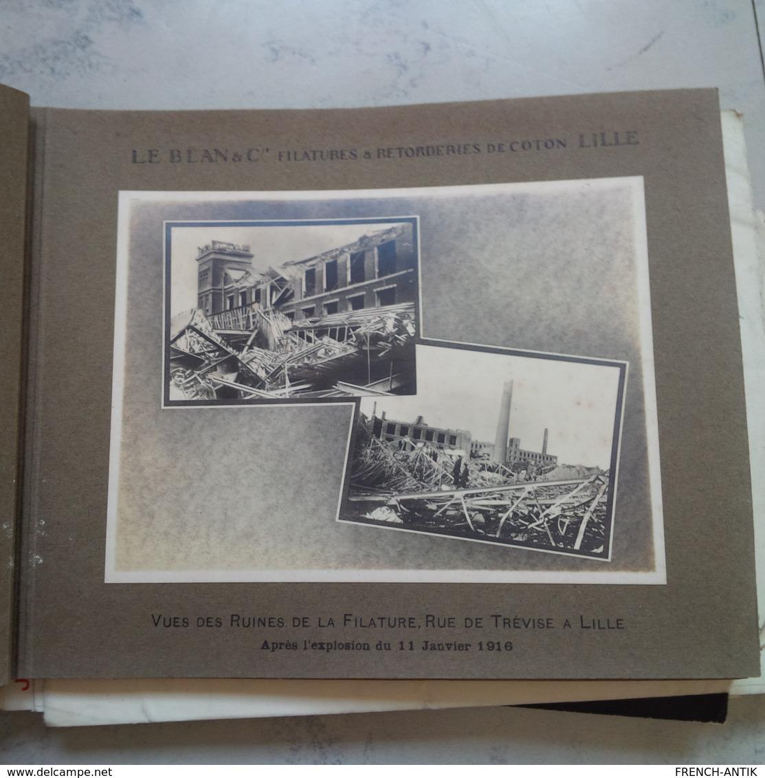 ALBUM 22 PHOTO FILATURES ET RETORDERIES DE COTON LE BLAN ET CIE LILLE AVEC COURRIER ECRITE PAR MONSIEUR LE BLAN - Albums & Collections