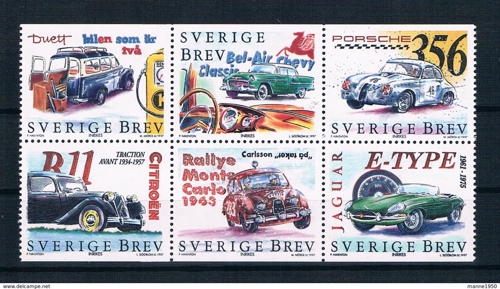Schweden 1997 Autos Mi.Nr. 2019/24 Kpl. Satz ** - Ongebruikt