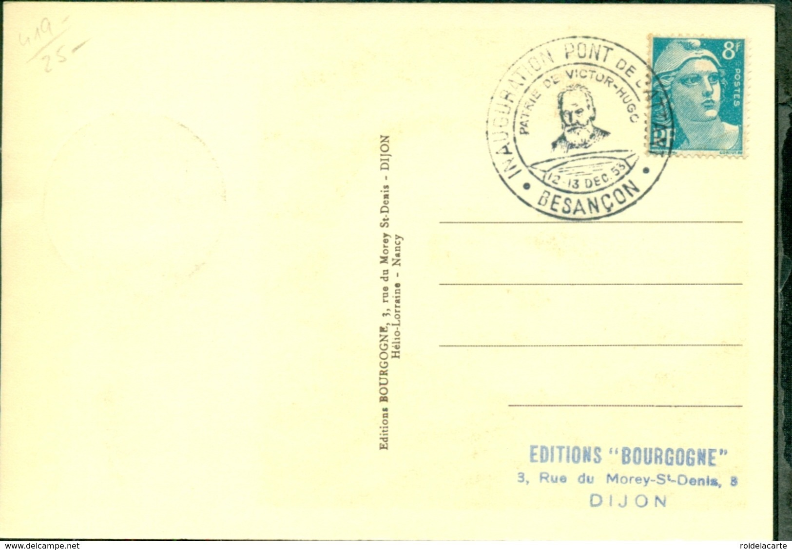 CM-Carte Maximum Card # France-1938 #Victor Hugo,poète,Dichter (Yvert 383 ) # Obl. Illustr. Besancon 12.12.1953 - 1930-39