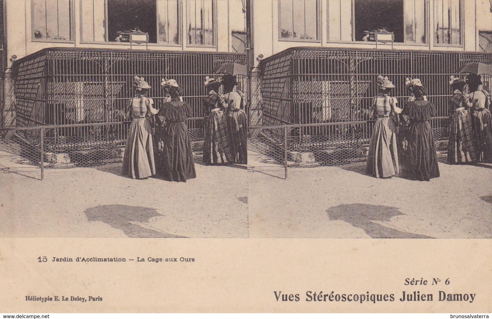 VUES STEREOSCOPIQUES JULIEN DAMOY - 15 Jardin D'Acclimatation - La Cage Aux Ours - Cartoline Stereoscopiche