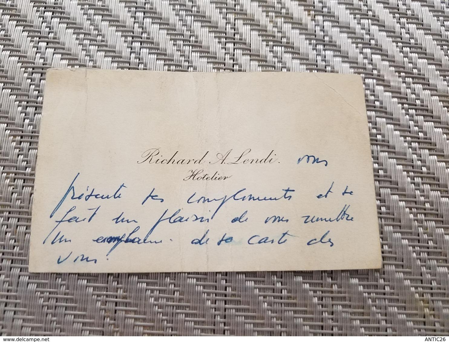 Carte De Visite Richard A. LENDI HOTELIER - Unclassified