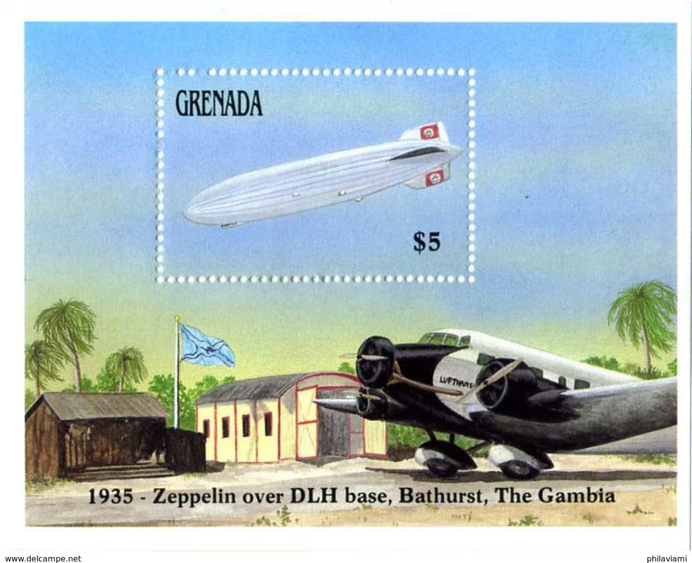 Grenade Grenada 1988 Zeppelin LZ-129 Hindenburg Station Bathurst - Zeppelins