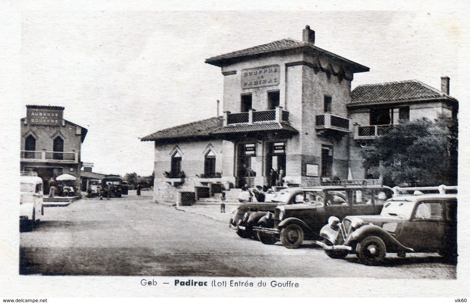 46   PADIRAC  ENTREE DU GOUFFRE AVEC VOITURES ANNEES 50 - Padirac