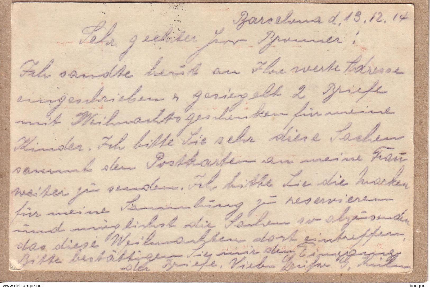 ESPAGNE SUISSE - CARTE DE BARCELONE POUR BÂLE , GRIFFE PAQUEBOT SUR ENTIER 10 CS + CACHET FERROVIAIRE ITALIE - 1914 - Cartas