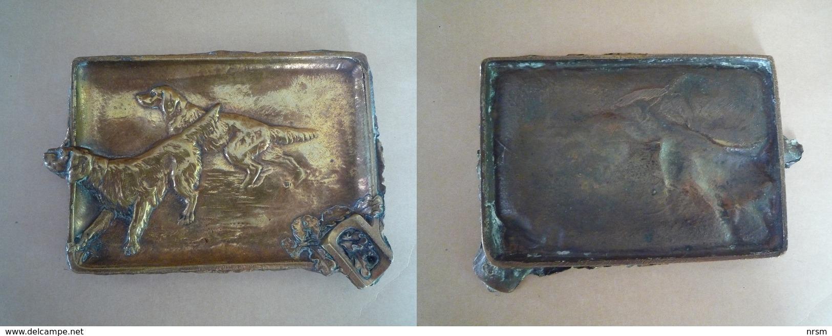 Cendrier En Bronze / Chiens De Chasse (Setters) - Métal