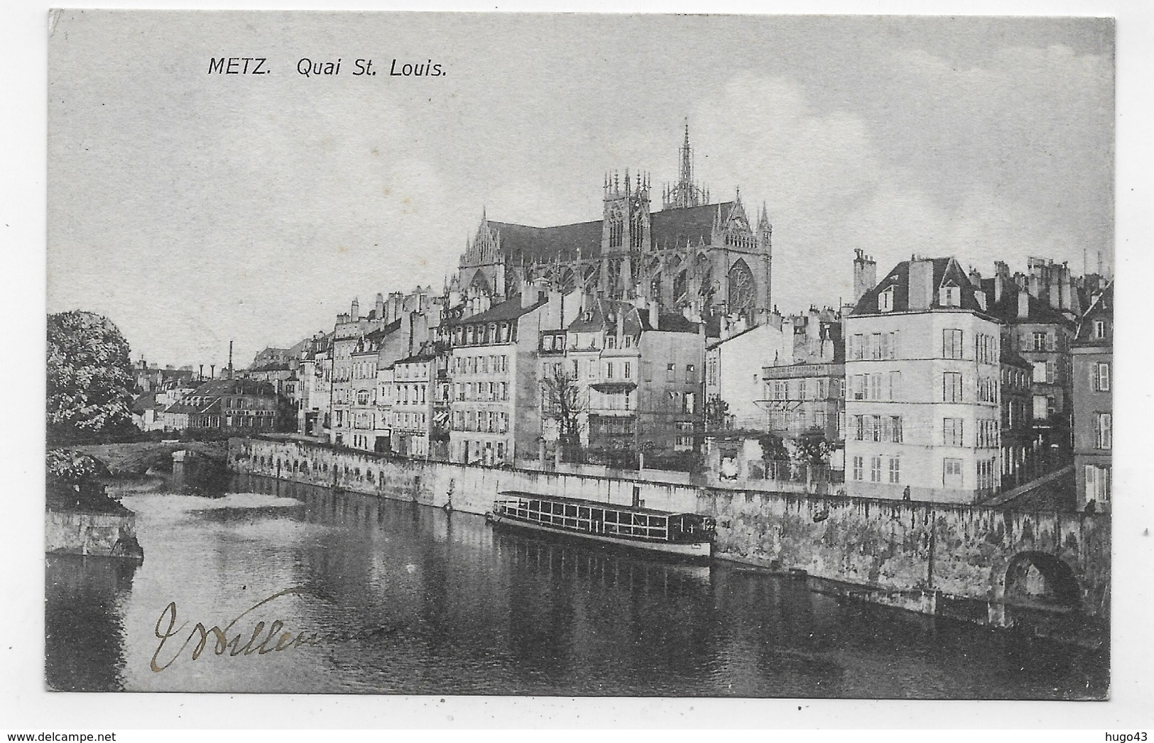 (RECTO / VERSO) METZ EN 1907 - QUAI SAINT LOUIS AVEC BATEAU - BEAU CACHET ET TIMBRE ALLEMAND - CPA VOYAGEE - Metz