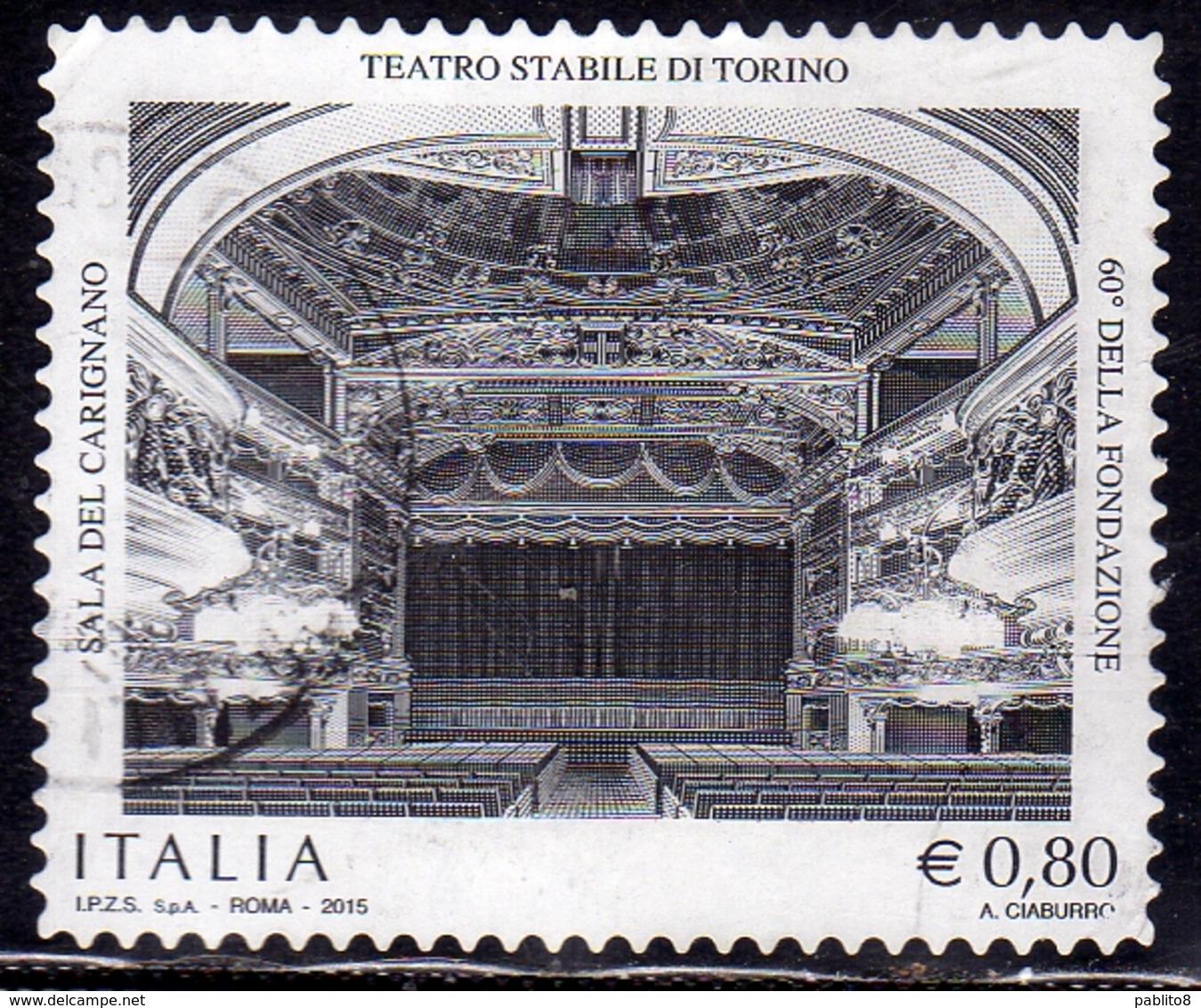 ITALIA REPUBBLICA ITALY REPUBLIC 2015 PATRIMONIO ARTISTICO E CULTURALE TEATRO STABILE DI TORINO USATO USED OBLITERE' - 2011-...: Afgestempeld
