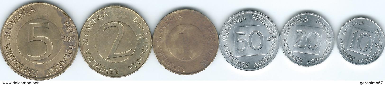 Slovenia - 10 (1992) 20 (1993) & 50 Stotinov (1995); 1 (1992) 2 (1997) & 5 Tolarjev (2000) (KMs 2-8) - Slovenia