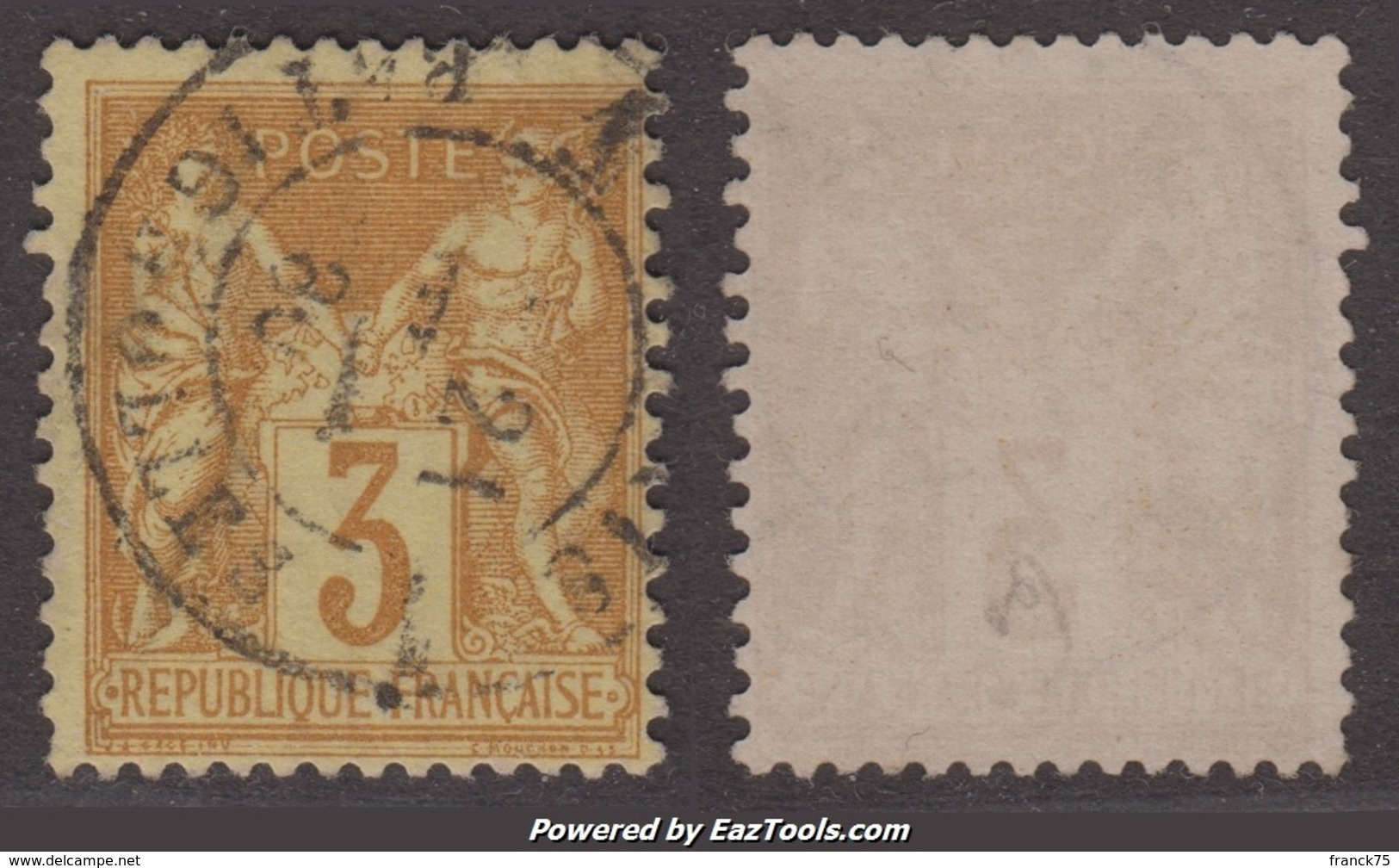 3c Sage Bistre-jaune  Oblitéré TB  (Y&T N° 86, Cote  50€€) - 1876-1898 Sage (Type II)