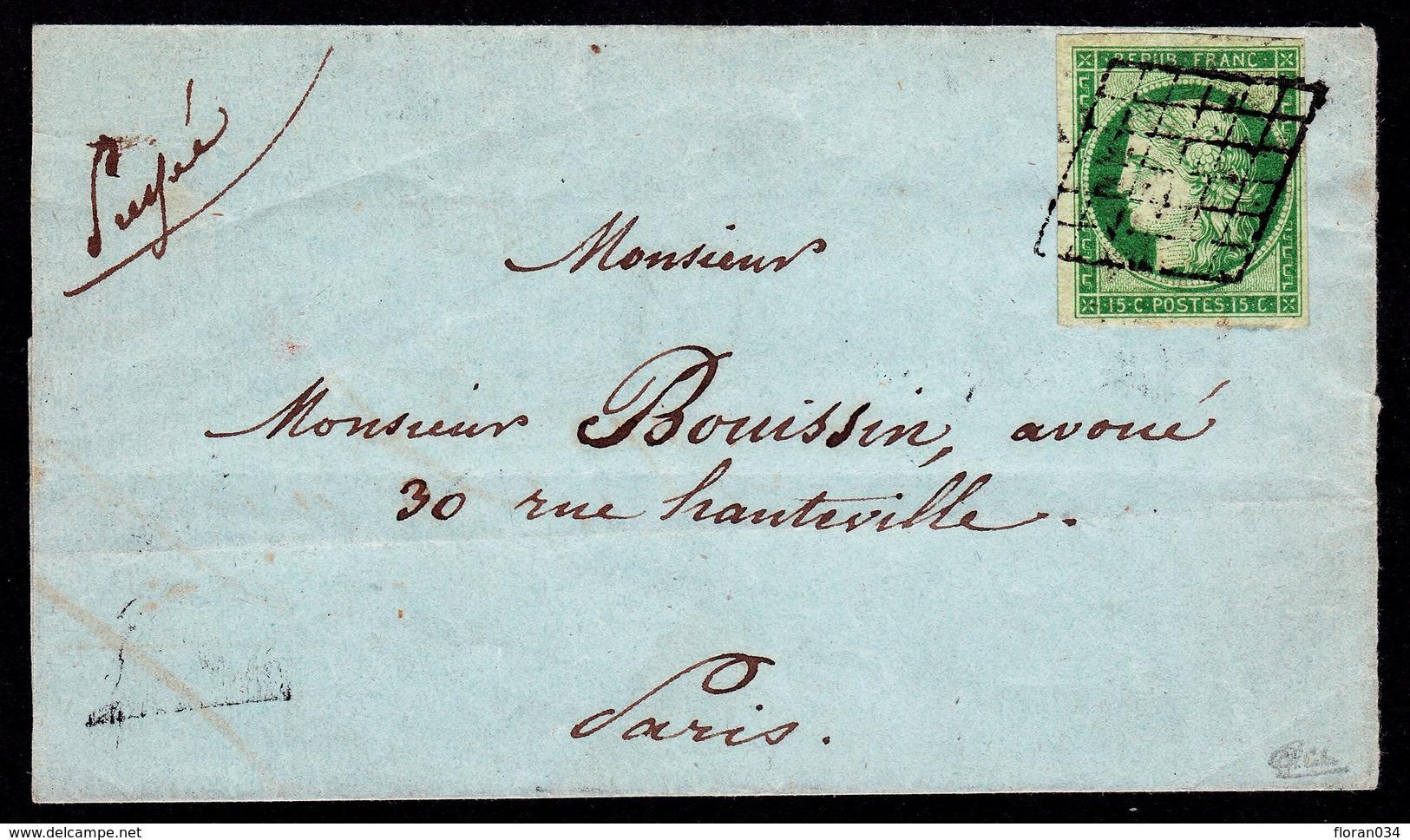 France N° 2 Obl. Grille - Signé Calves - Cote 1850 Euros - TTB Qualité - 1849-1850 Ceres