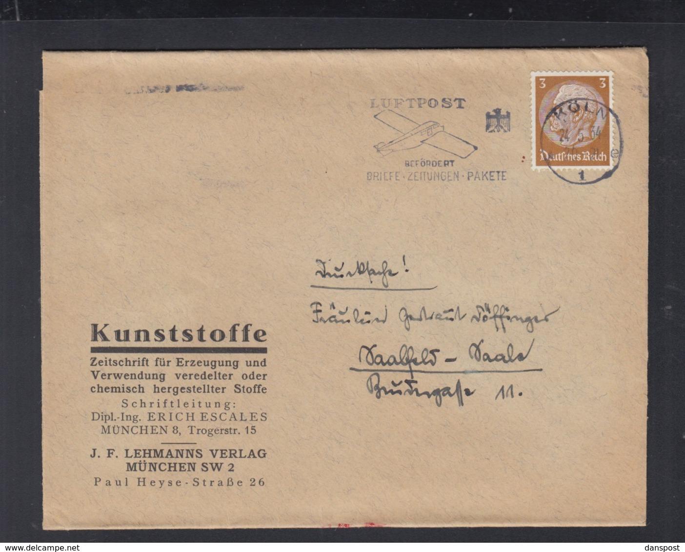 Dt. Reich Streifband 1934 Kunststoffe Erich Escales - Briefe U. Dokumente