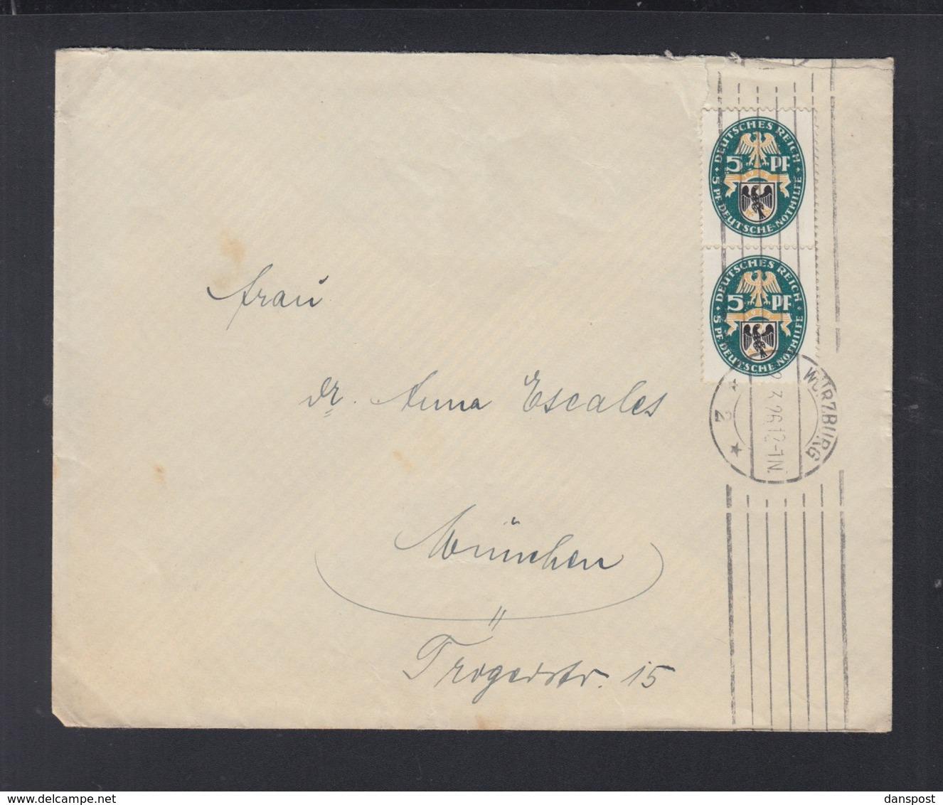 Dt. Reich Paar Auf Brief 1926 Würzburg Nach München - Deutschland