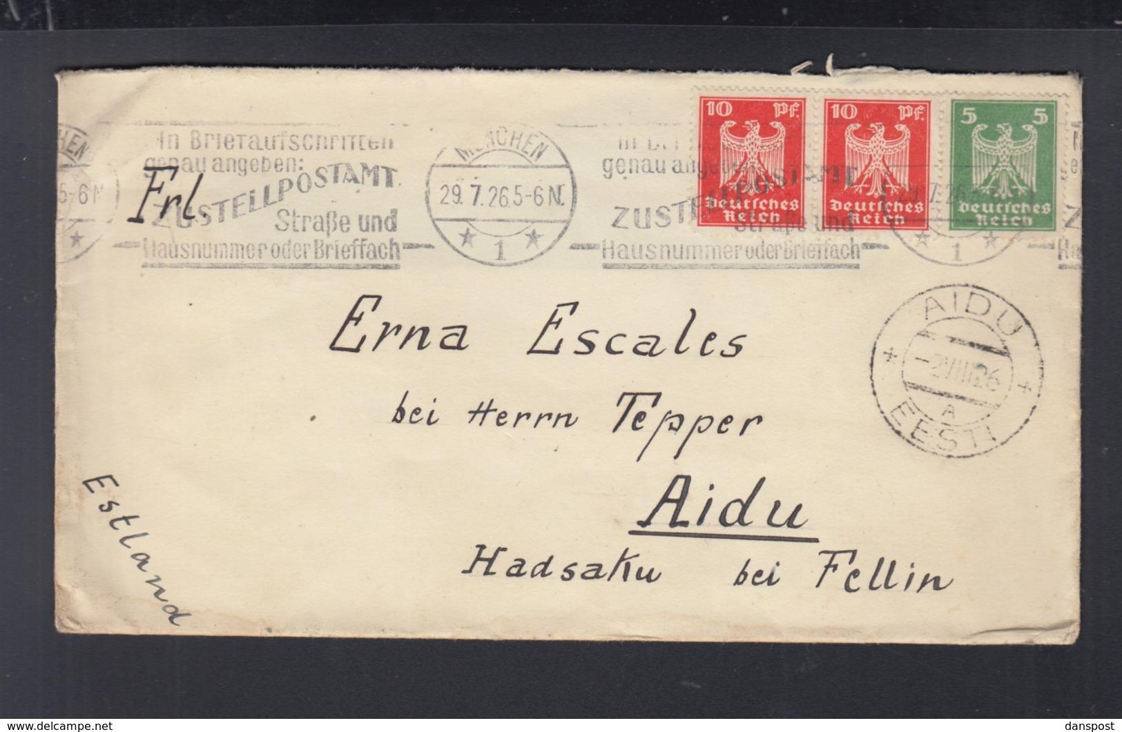 Dt. Reich Brief 1926 München Nach Estland - Deutschland
