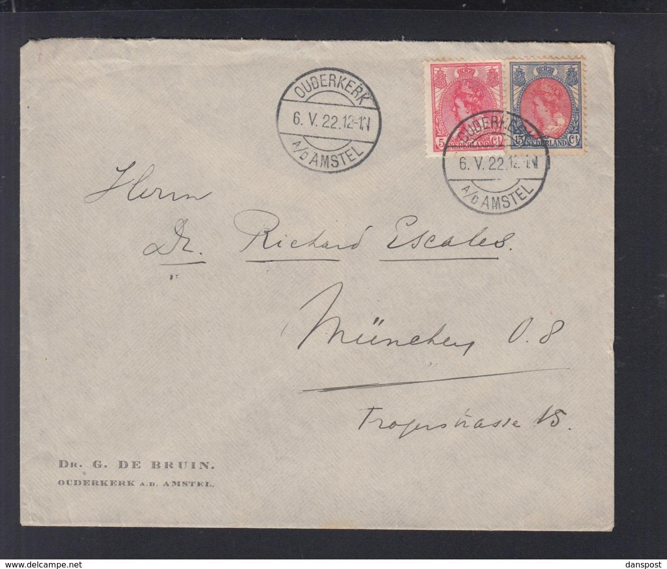 Niederlande Brief 1922 Ouderkerk Nach München - Briefe U. Dokumente