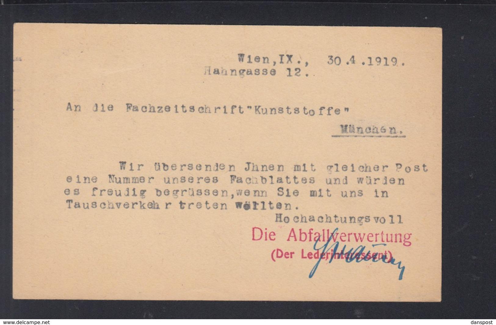 Österreich GSK 1919 Wien Nach München Abfallverwertung - Briefe U. Dokumente