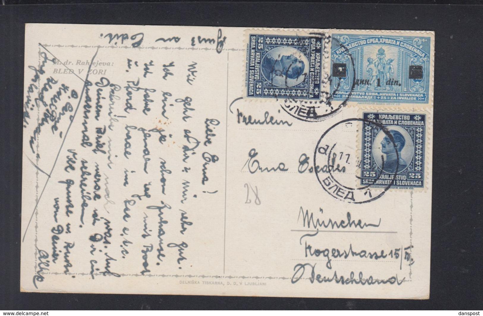 Jugoslawien PK Bled Nach München - 1919-1929 Königreich Der Serben, Kroaten & Slowenen