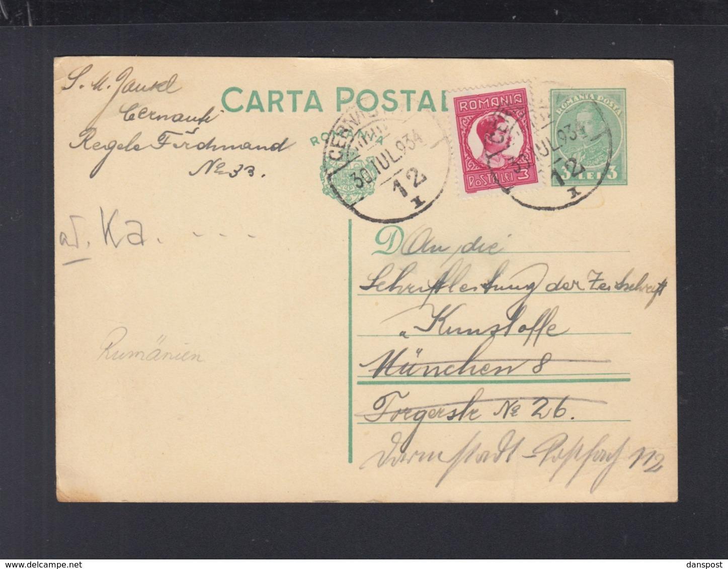 Rumänien Romania GSK Mit ZuF 1934 Cernauti Nach München - 1918-1948 Ferdinand, Carol II. & Mihai I.