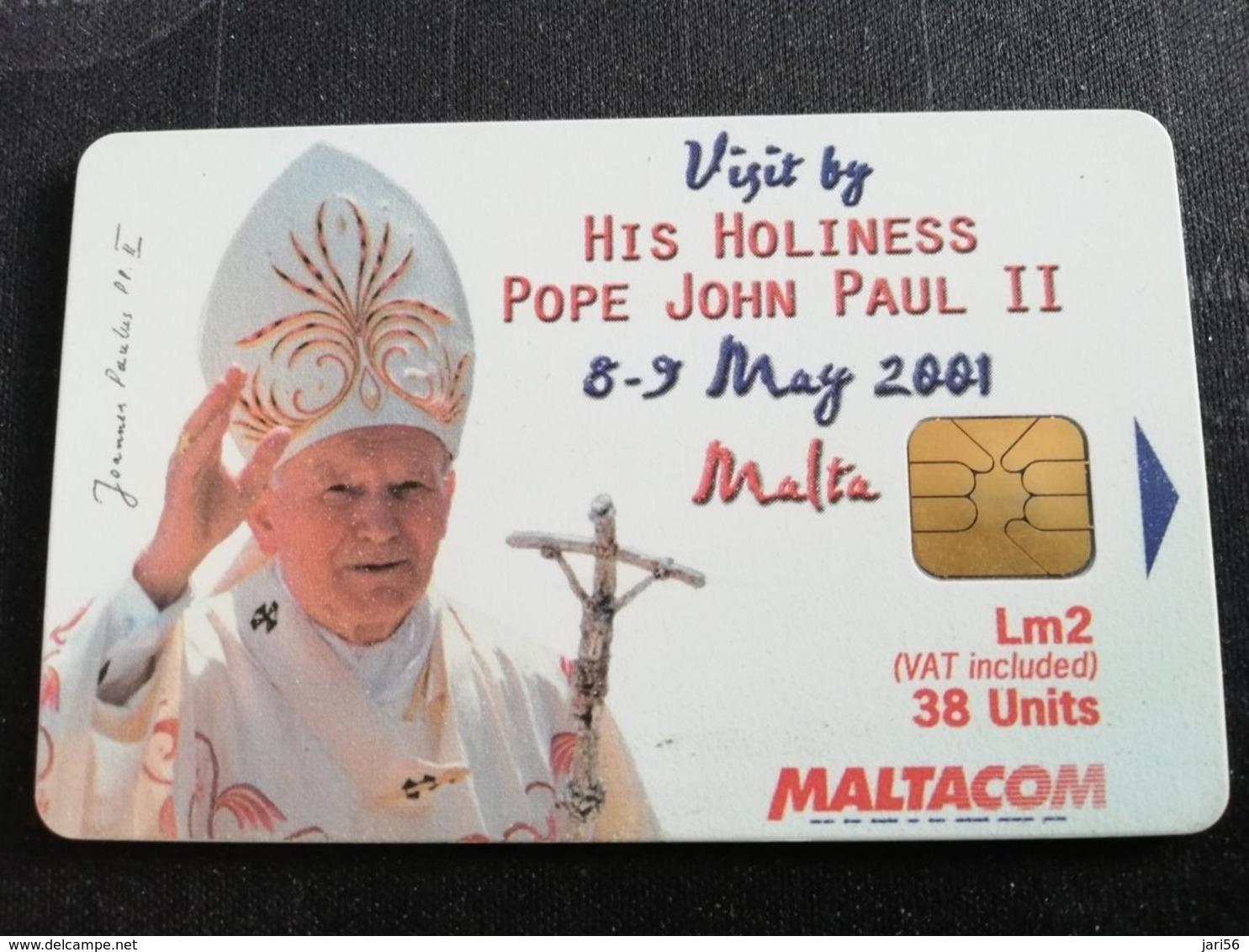 MALTA  POPE JOHN PAUL 2 NO 2 LM2    38 UNITS CHIPCARD  Fine Used    ** 1897** - Malta