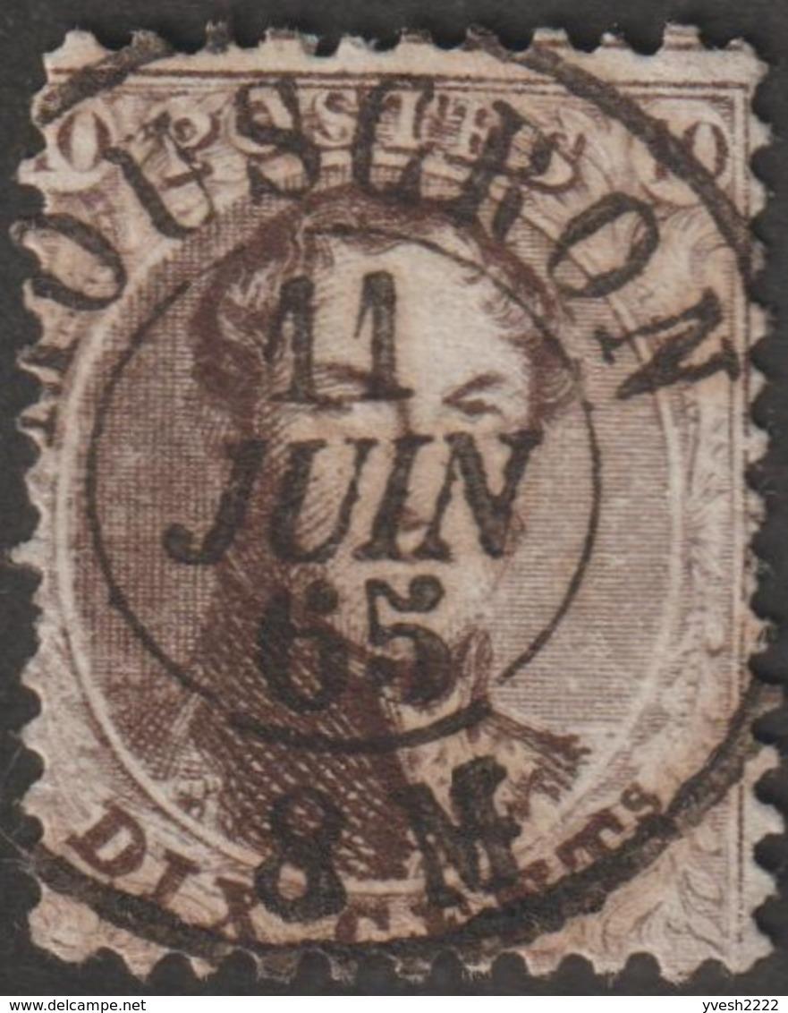 Belgique 1863 COB / Y&T 14A. 10 C Médaillon Dentelé 12½ X 13½, Oblitéré Mouscron. Curiosité De Dentelure - 1863-1864 Medallions (13/16)