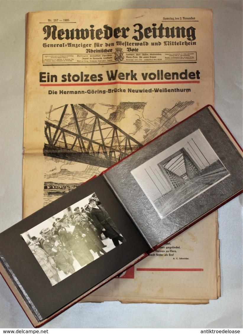 Fotoalbum 1936 Neuwieder Brückenbau Hermann-Göring-Brücke Mit Original Zeitung - Guerre 1939-45