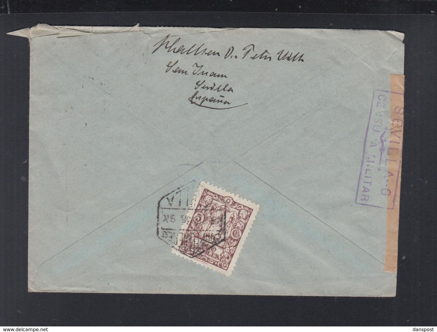 Spanien Brief 1938 Zensur Sevilla - 1931-Heute: 2. Rep. - ... Juan Carlos I