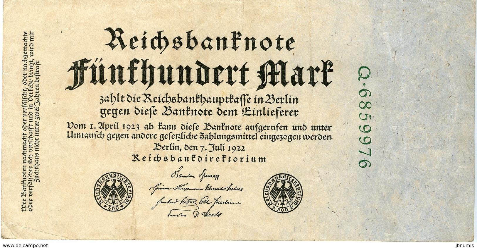 Allemagne Germany 500 Mark 7 Juli 1922 P74b - [ 3] 1918-1933 : Repubblica  Di Weimar