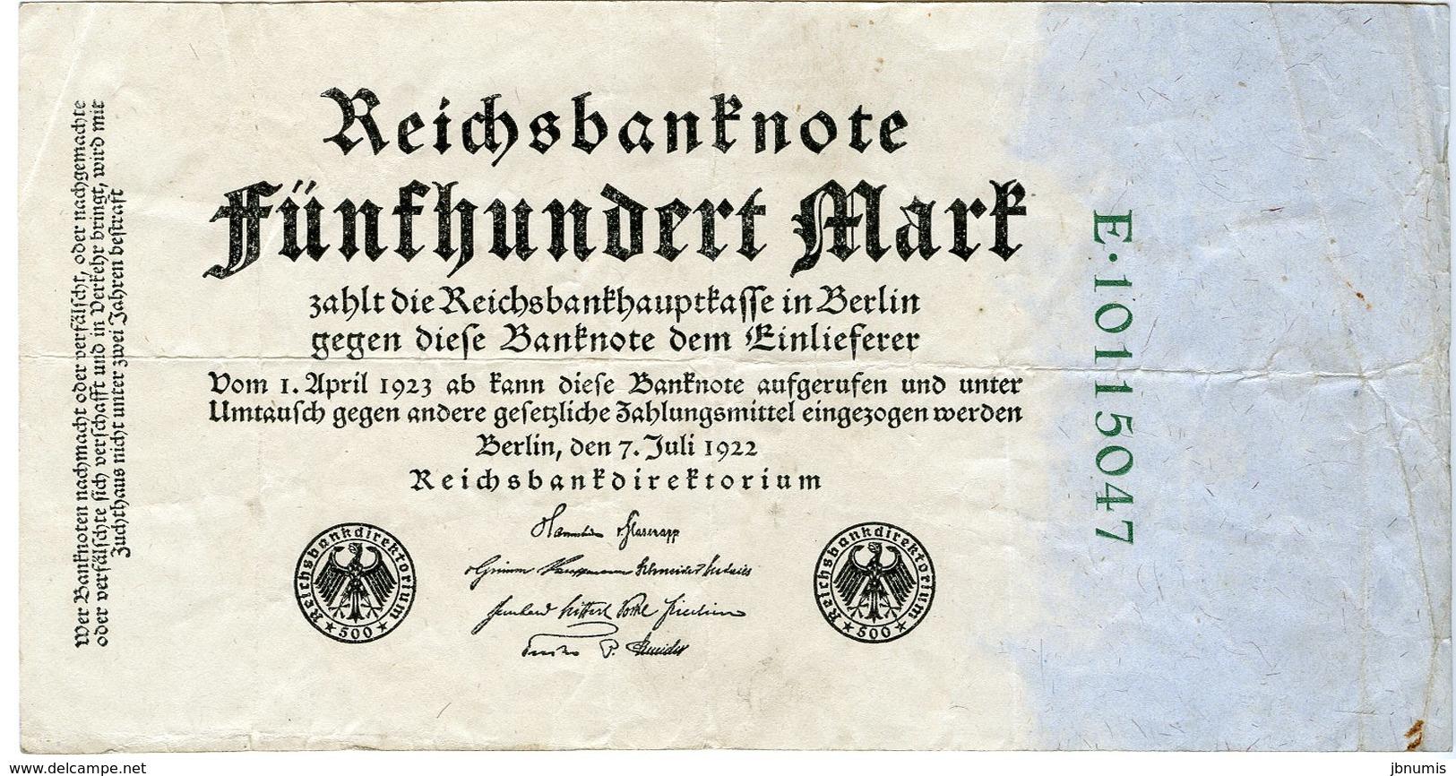 Allemagne Germany 500 Mark 7 Juli 1922 8 Chiffres P74c - 500 Mark