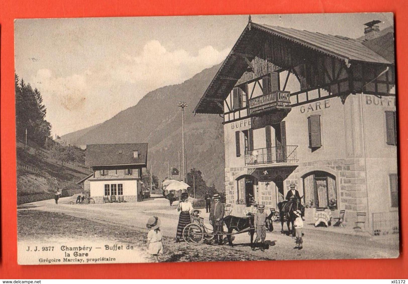 ZAE-27 RARE Champéry, Le Buffet De La Gare Attelage, Mulet ANIME. Grégoire Marclay Propriétaire.Circulé 1917 - VS Valais