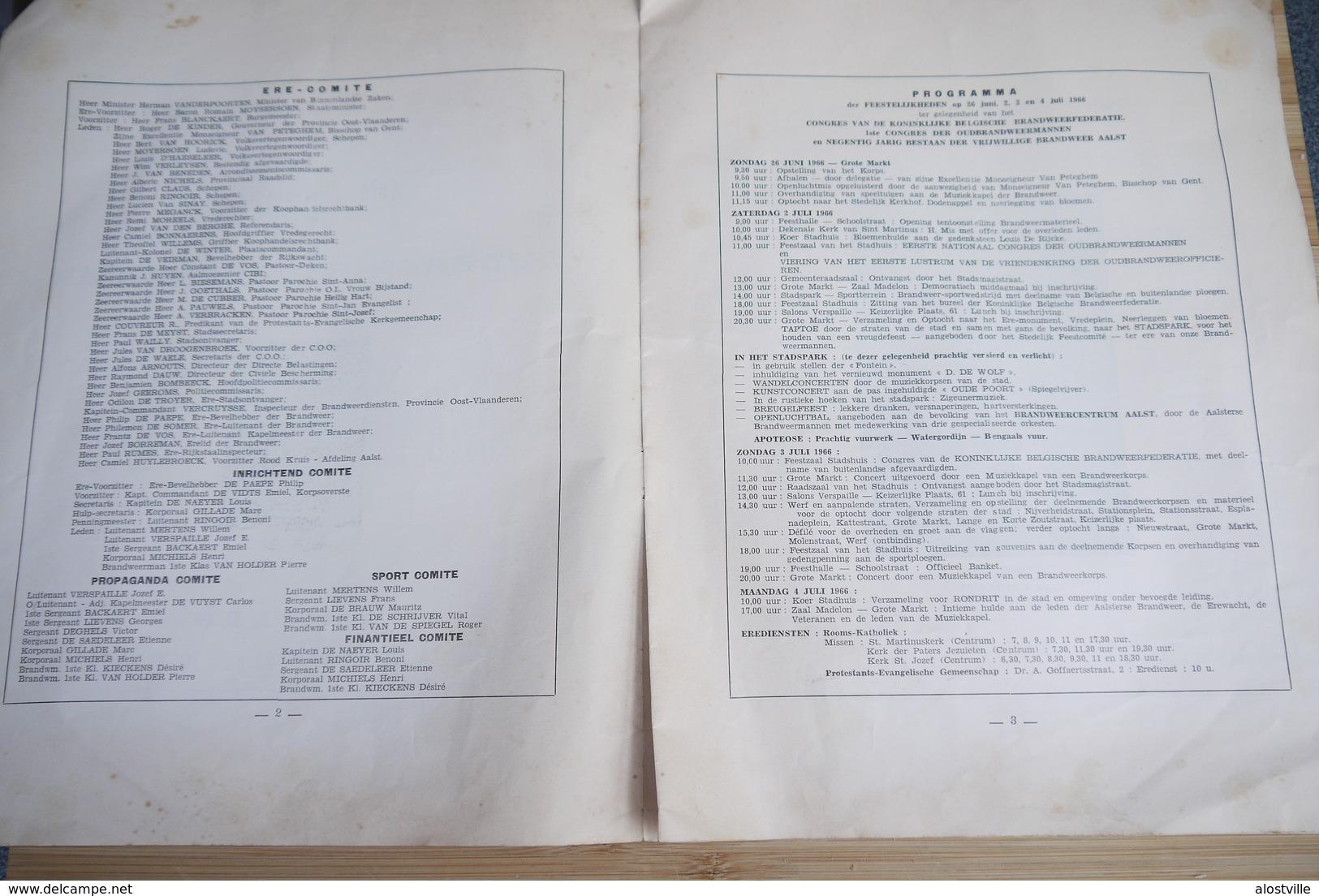Aalst 1966 90 Jaar Brandweer Sapeurs Pompiers 1e Congres - Documents Historiques