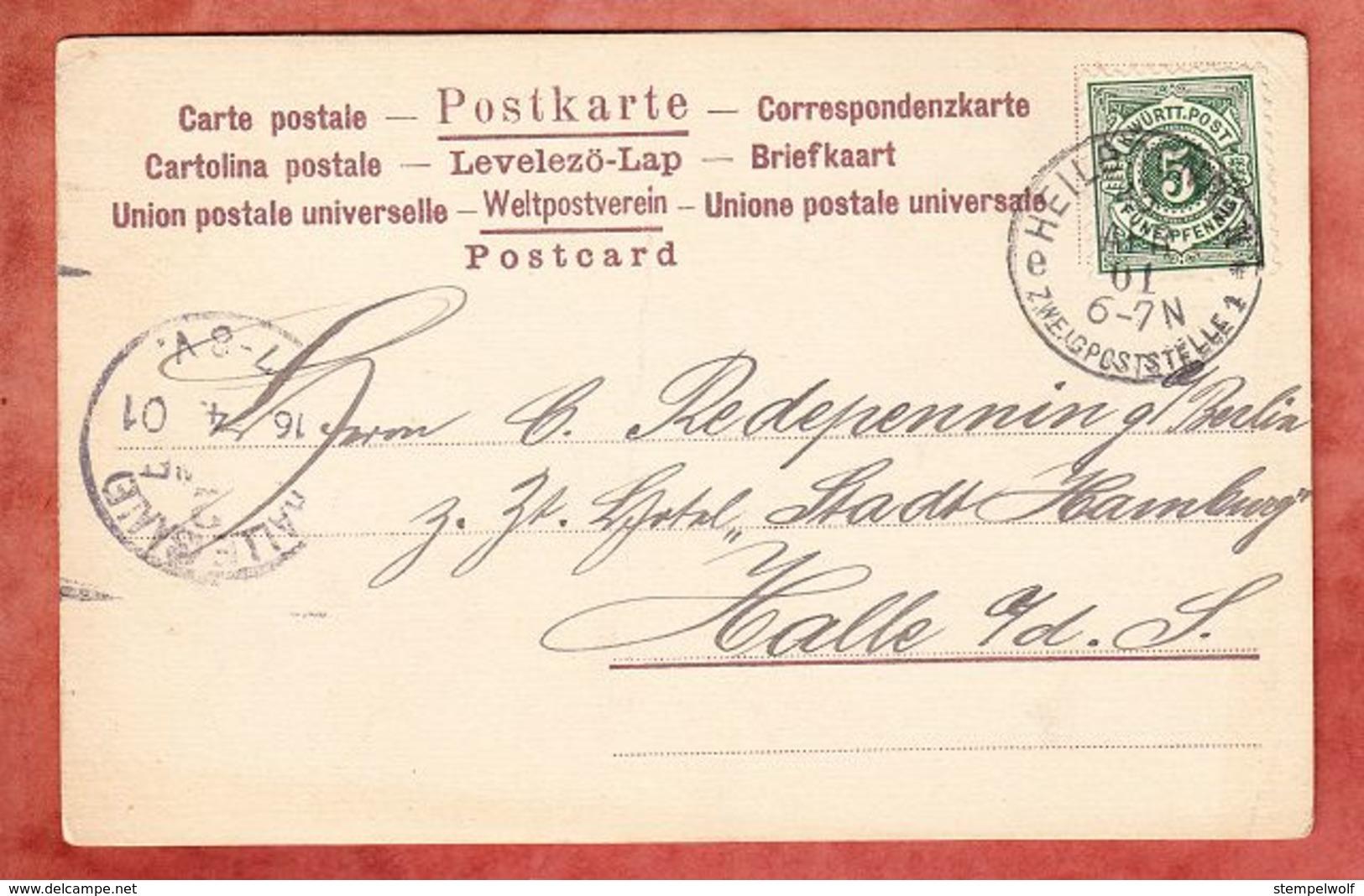 AK Abfahrt Des Columbus, Ziffer, Heilbronn Zweigpoststelle, Nach Halle Saale 1901 (93946) - Wurtemberg