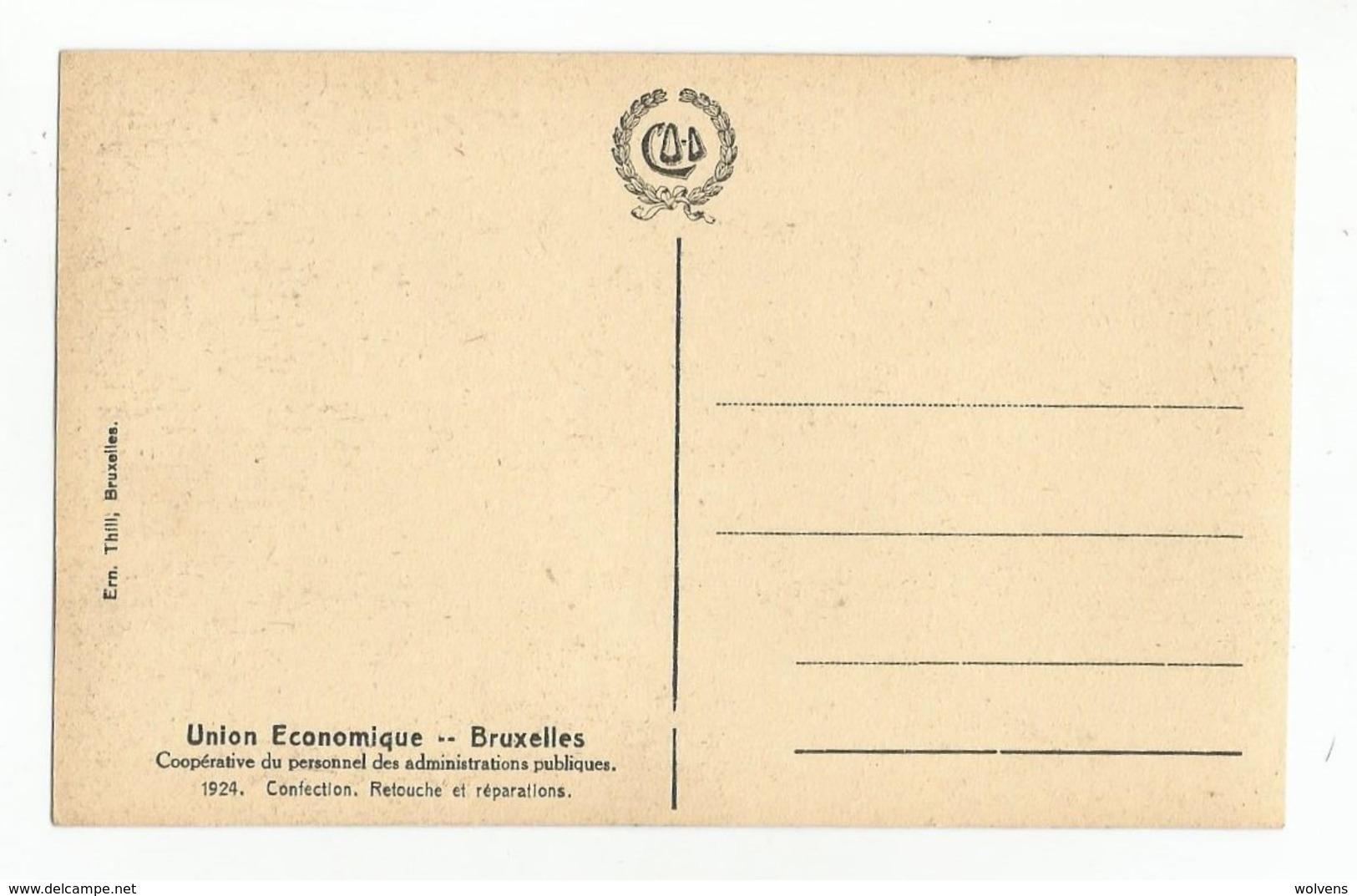 Bruxelles Union Economique Couture Confection Retouche Et Réparations Carte Postale Ancienne Animée - Old Professions