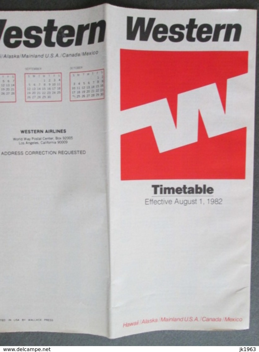 THE WESTERN AIR FORCE, USA, TIMETABLE 1982 - World