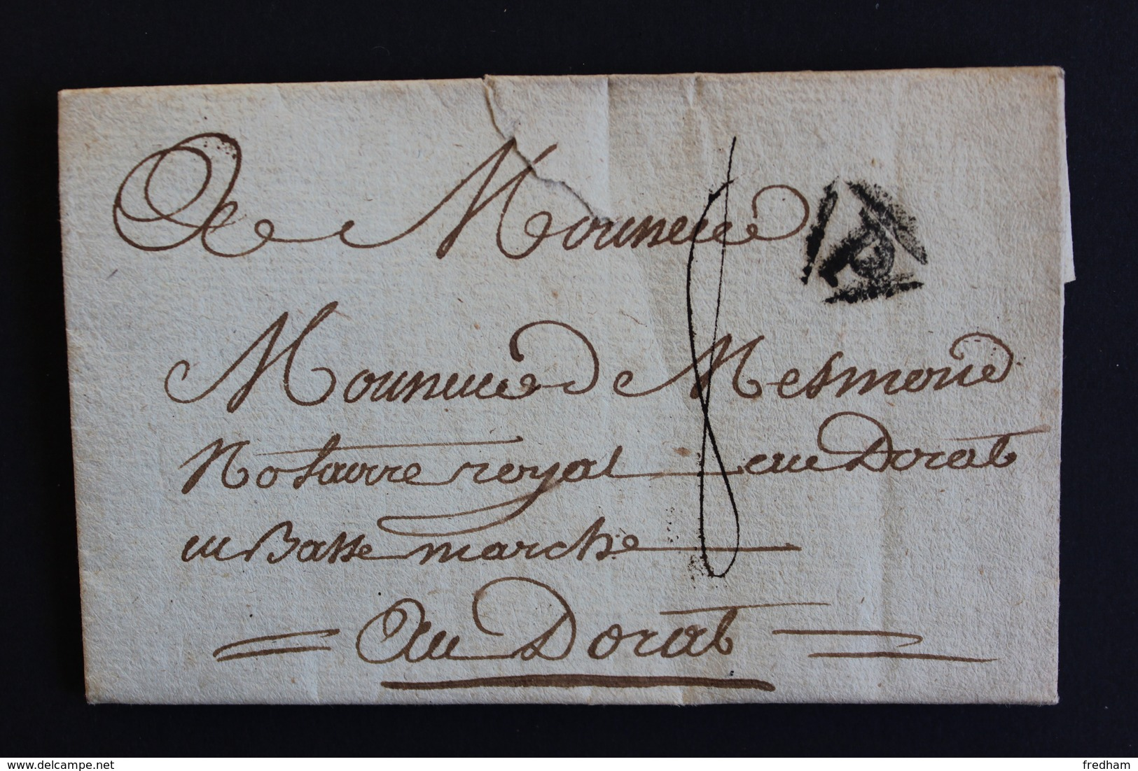 1784 LAC PARIS MARQUE P DANS UN TRIANGLE NOIR  POUR LE DORAT EN BASSE-MARCHE (HAUTE-VIENNE) TAXE MANUSCRITE 8 DECIMES. - 1701-1800: Precursors XVIII