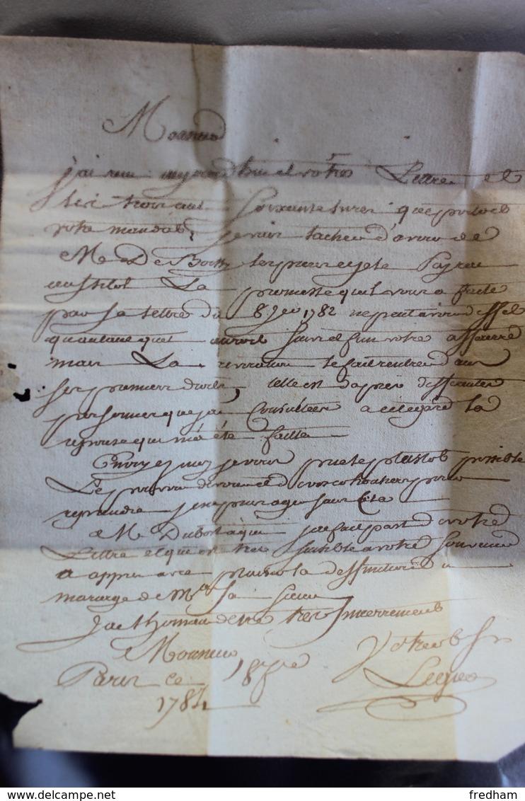 1784 LAC PARIS MARQUE P DANS UN TRIANGLE NOIR  POUR LE DORAT EN BASSE-MARCHE (HAUTE-VIENNE) TAXE MANUSCRITE 8 DECIMES. - 1701-1800: Précurseurs XVIII