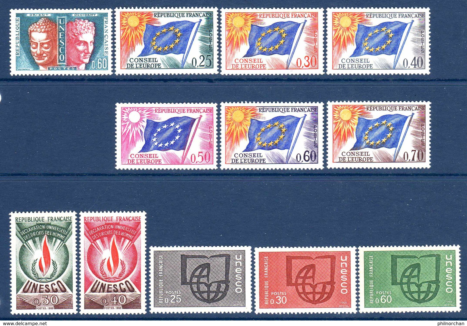 Unesco 1960/66 N°22/3,25,27/30,32,34,36/38   TB    1,40 € (cote 14,30 €  12 Valeurs) - Oblitérés