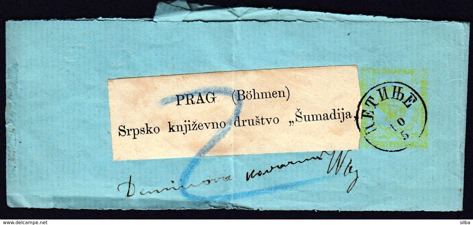 Montenegro Cetinje 1895 / Newspaper Wrapper / Sent To Bohmen Srpsko Knjizevno Drustvo Sumadija - Montenegro