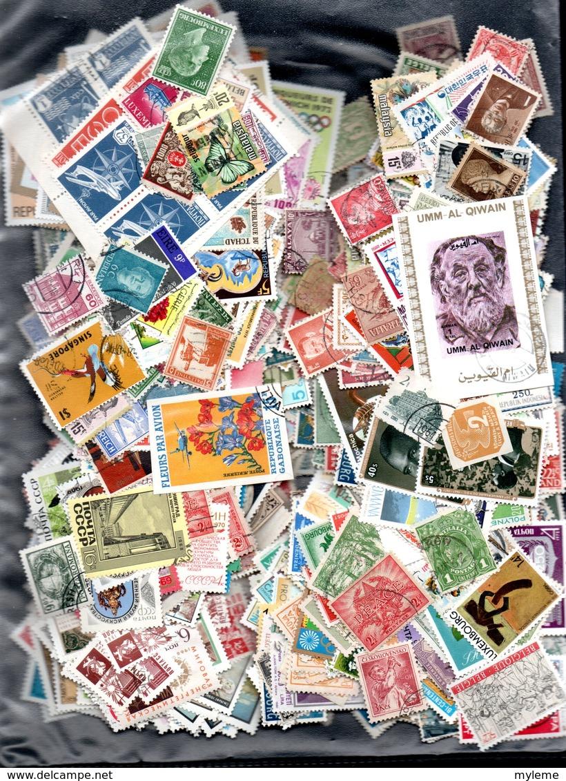 C101 Lot De + De 1000 Timbres Oblitérés De Différents Pays.  PORT 2.32 OFFERT Vert Pour La FRANCE - Collections (with Albums)