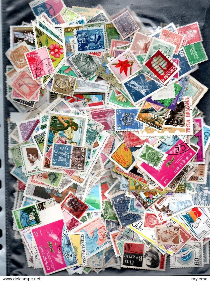 C103 Lot De + De 1000 Timbres Oblitérés De Différents Pays.  PORT 2.32 OFFERT En Tarif Vert Pour La FRANCE - Collections (with Albums)