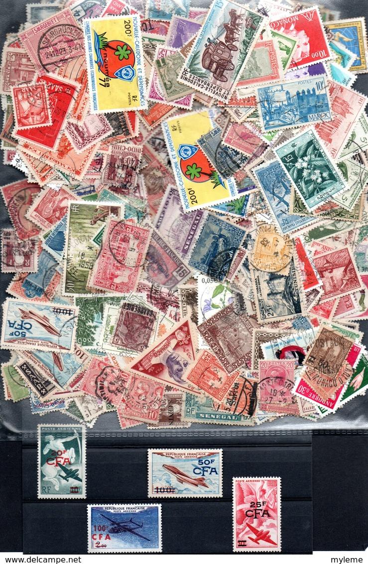 C107 Lot De + De 500 Timbres Oblitérés Anciennes Colonies Et D'expression Françaises + 4 Timbres ** - Collections (with Albums)
