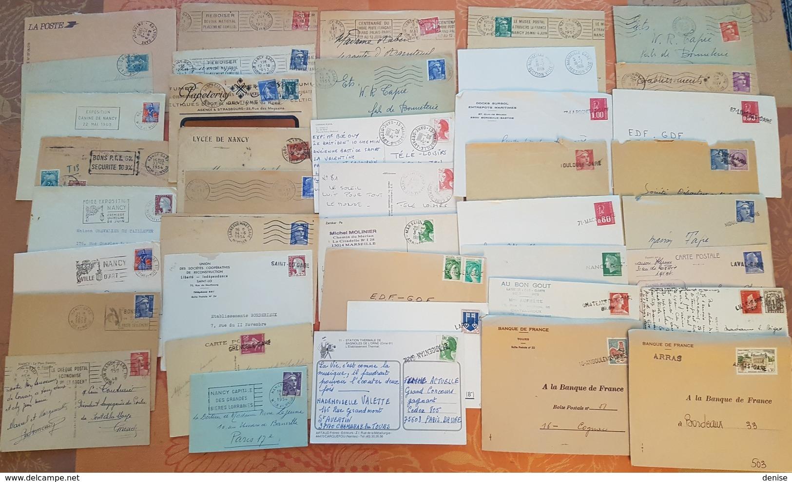 France - Lot De 90 Lettres Et Cartes Postales  - Poste Ferroviaire - Cachets Et Griffes De Gare  - DEPART 1 EURO - Railway Post