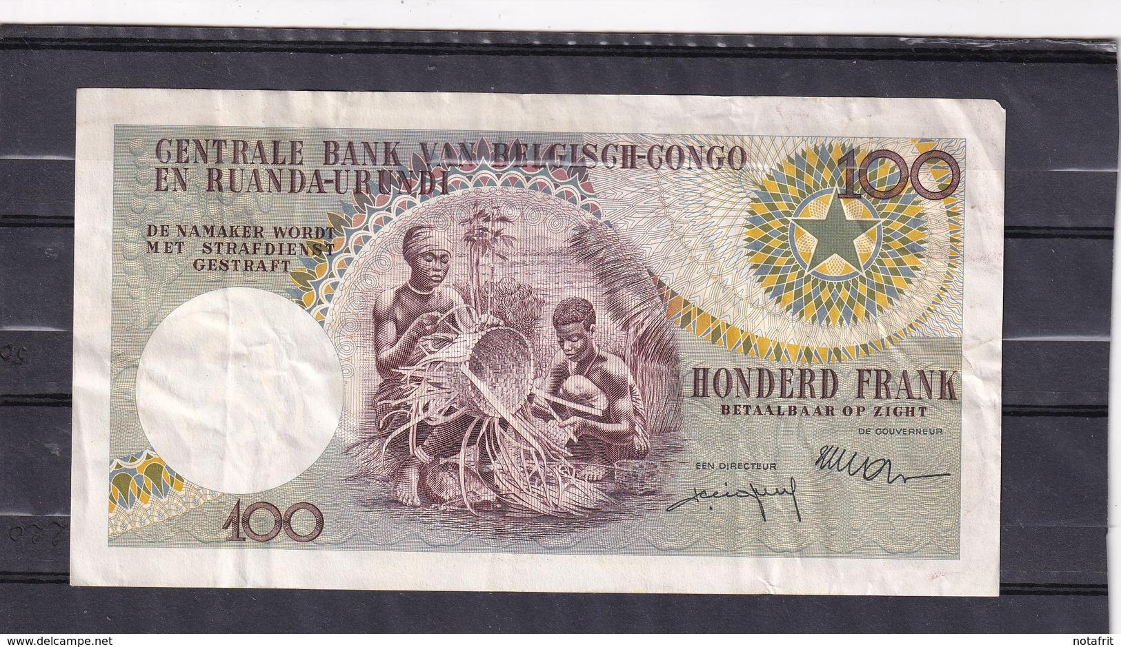 Congo Kongo  100 Fr 1956 Leopold II   See Scan !! - Sonstige – Afrika