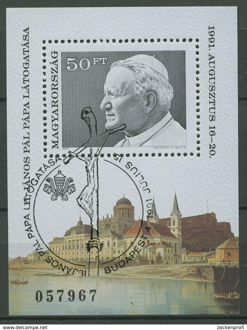 Ungarn 1991 Papst Johannes Paul II. In Ungarn Block 215 A Gestempelt (C92672) - Blocs-feuillets