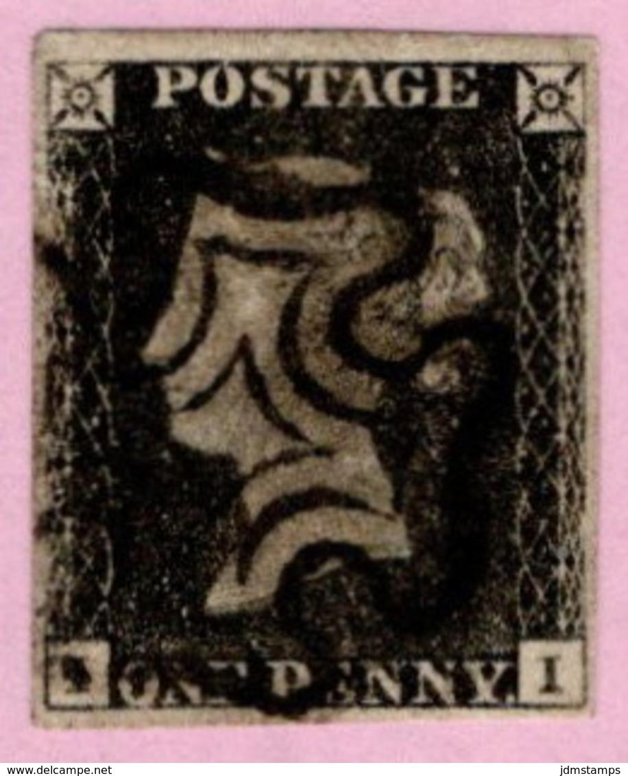 GBR SC #1 U (I,I) 1840 Queen Victoria 4 Margins W/black MC Cancel CV $360.00 - Used Stamps