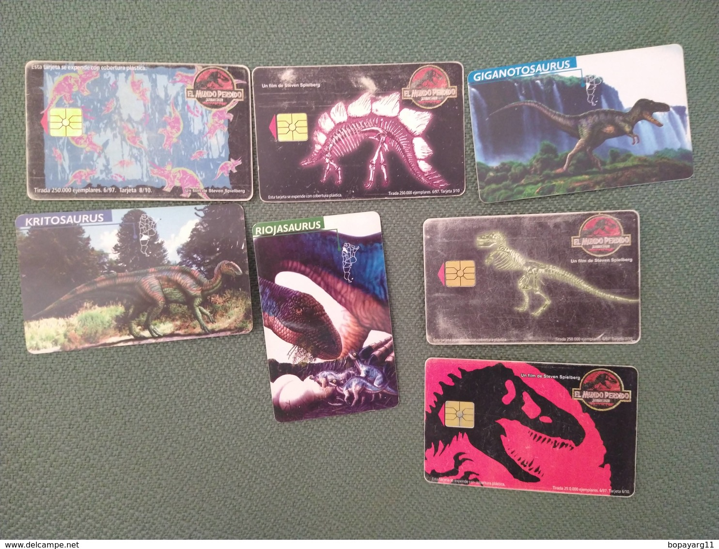Argentina Phonecards Telecom Telefonica LOT OF 7 Dinosaurs  #11 - Phonecards