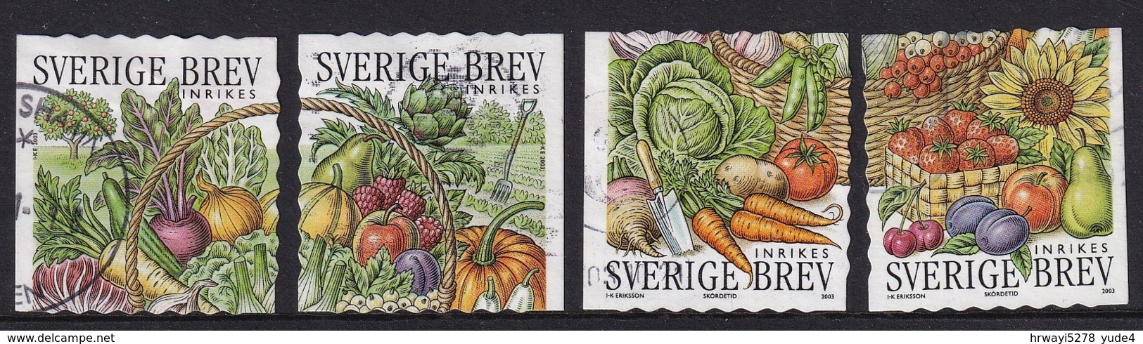 Sweden 2003, Vegetables, Complete Set Vfu. Cv 4,80 Euro - Oblitérés