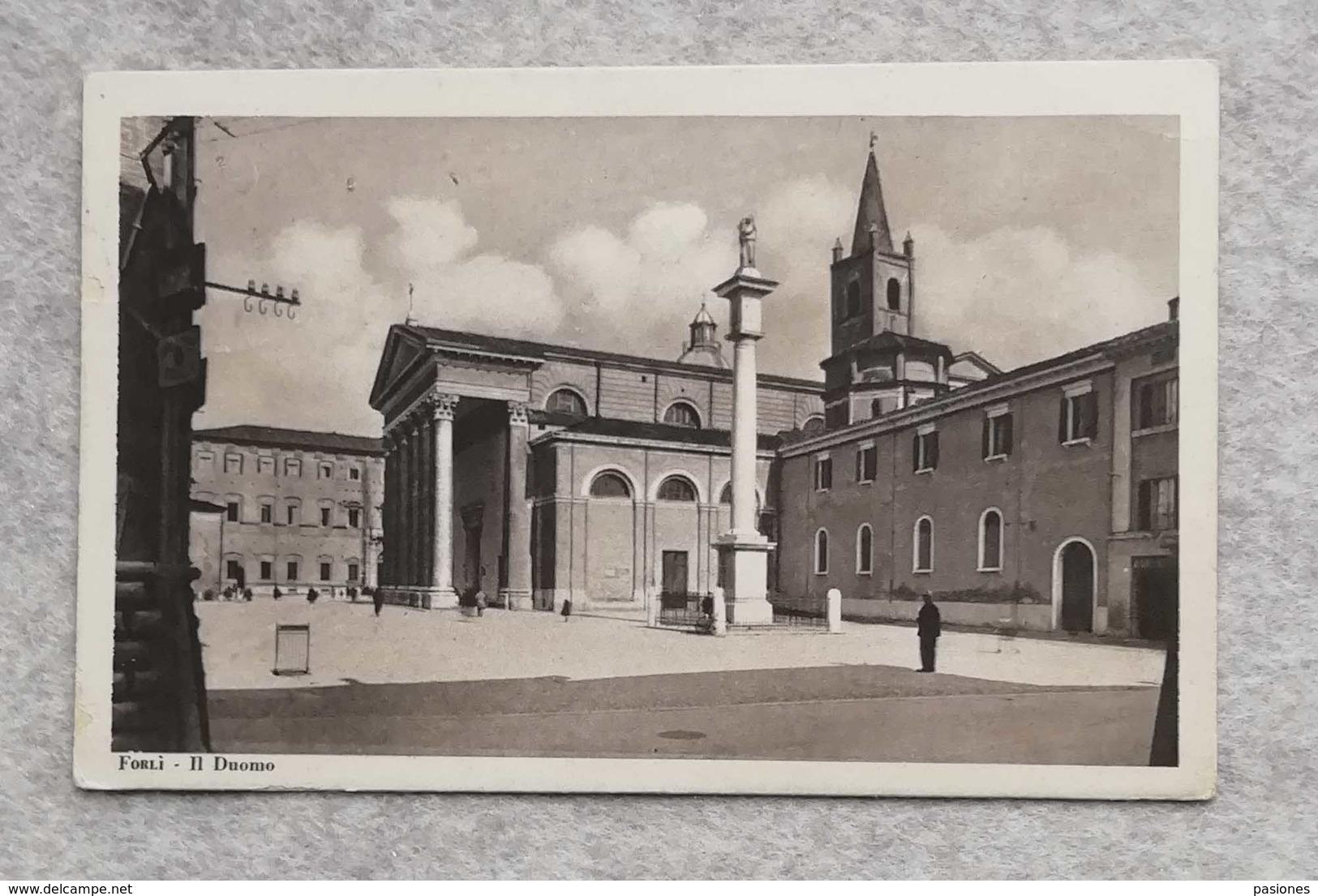 Cartolina Illustrata Forlì - Il Duomo, Per Giarre 1935 - Forlì