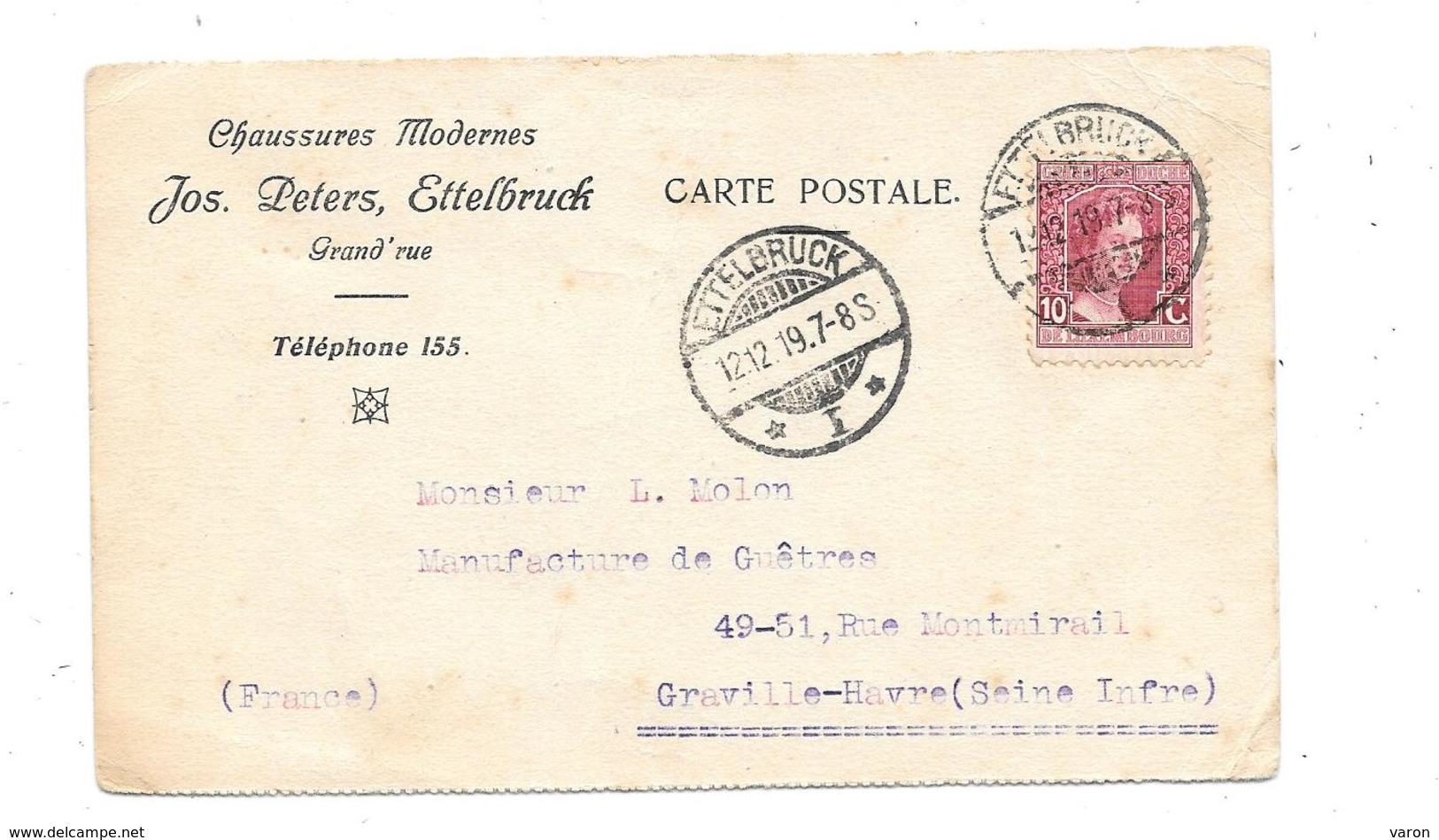 Carte Pub 1919 CHAUSSURES MODERNES JOS.PETERS à ETTELBRUCK (Luxemb Pour MANUFACTURE DE GUETRES à GRAVILLE HAVRE - Kleidung & Textil