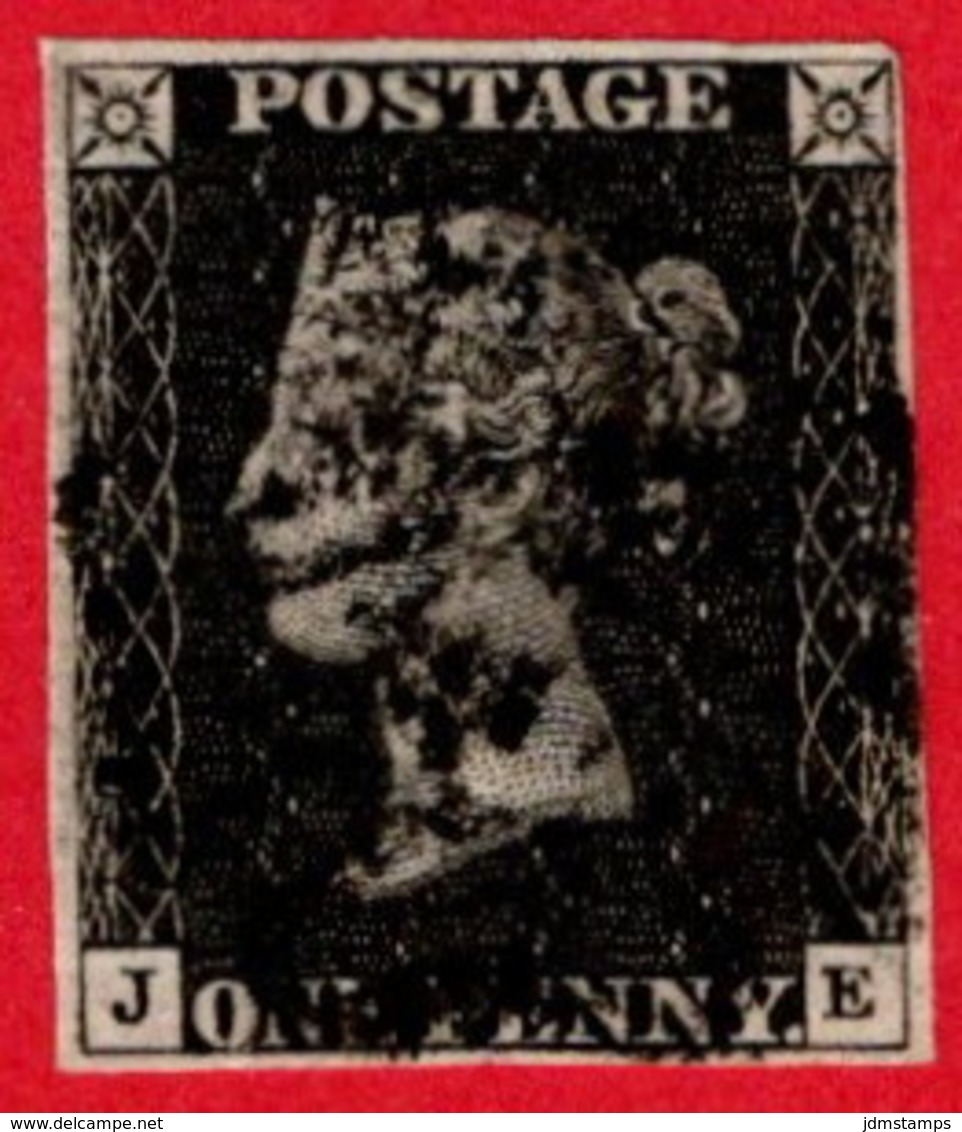 GBR SC #1 U (J,E) 1840 Queen Victoria 4 Margins W/black Cancel CV $320.00 - Used Stamps