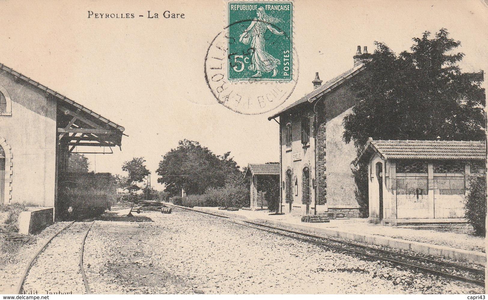 13 PEYROLLES   LA GARE CACHET 1910 - Peyrolles